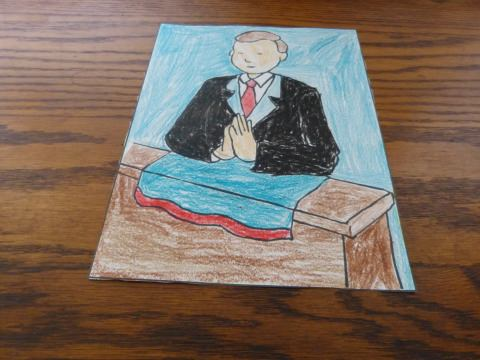 After - Boy Kneeling First Communion Coloring Page - Leave the suit white if you like :-)