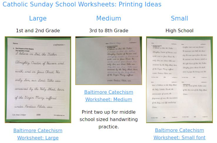 Catholic Cursive Writing Worksheets for teaching the Baltimore Catechism.