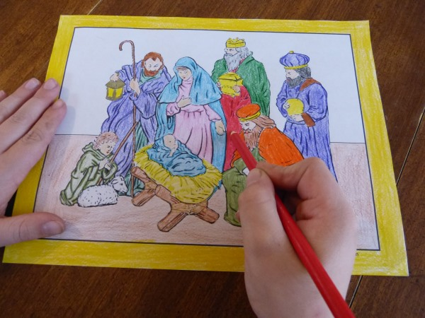 Printable Christmas Coloring Pages To Print: Jesus, Mary, and Joseph Nativity Scene.