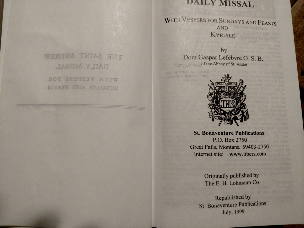 Catholic Missal title pages: 1945 Saint Andrew Daily Missal by St. Bonaventure Publications.