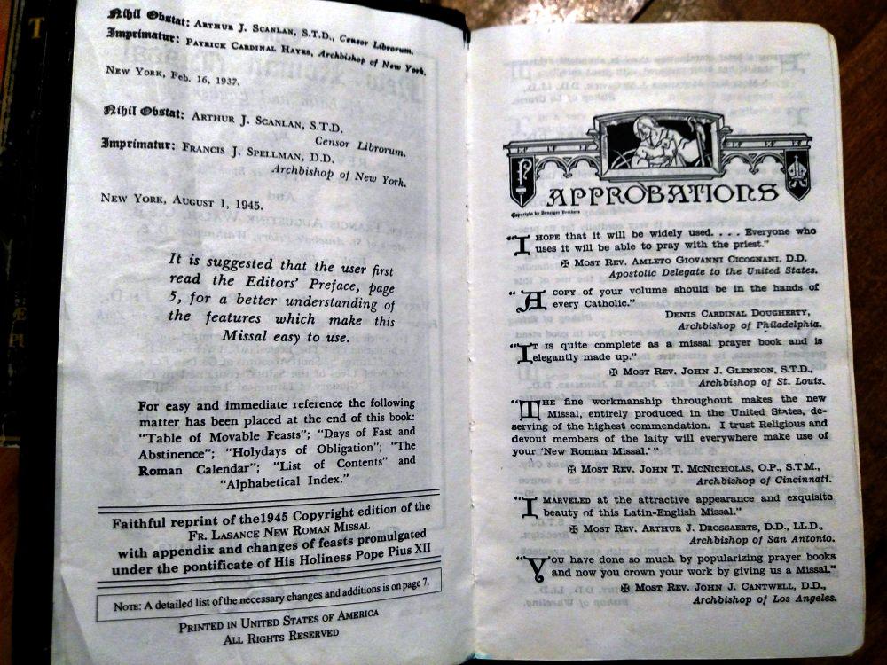 1945 Catholic Missal: The New Roman Missal, Fr. Lasance Imprimatur Page.