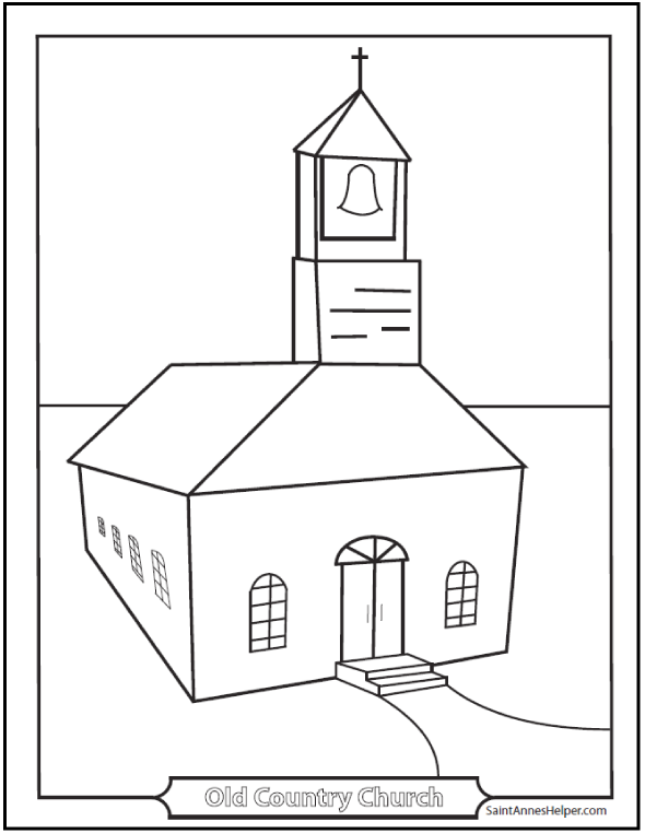 9 church coloring pages  from simple to ornate