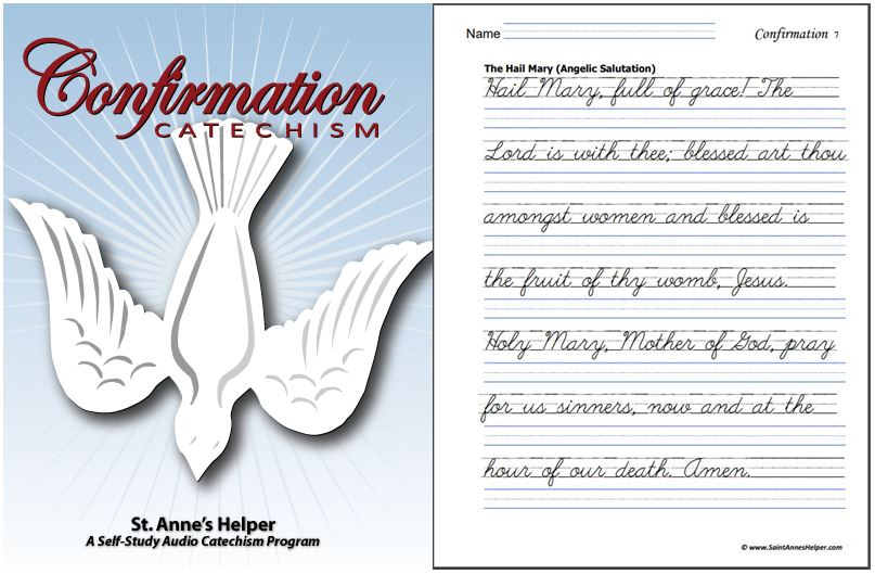 Confirmation Catechism Worksheets Cover and Sample