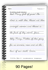 Catholic printable cursive writing worksheet: Hail Mary prayer. Rosary diagrams and coloring pages.