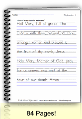 Manuscript handwriting worksheet of the Hail Mary from Saint Anne's Helper. Rosary diagrams and coloring pages, too.