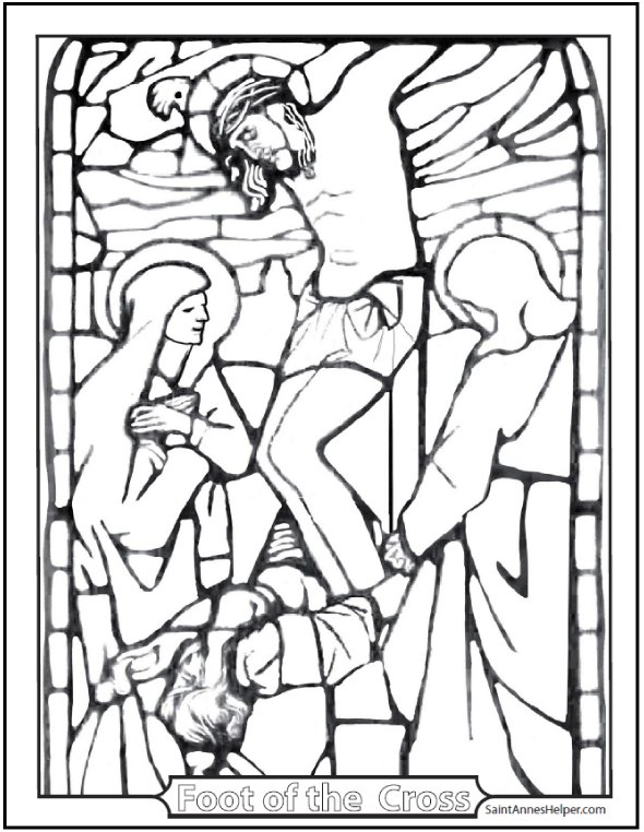 Stained Glass Crucifixion Coloring Page. Mary, Mary Magdalen, and John at the Foot of the Cross. Lent and Fifth Sorrowful Mystery.