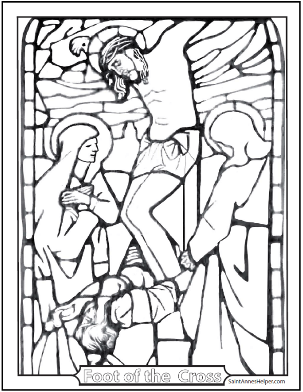 Stained Glass Coloring Page: Jesus' Crucifixion, Mary, Mary Magdalene, St. John