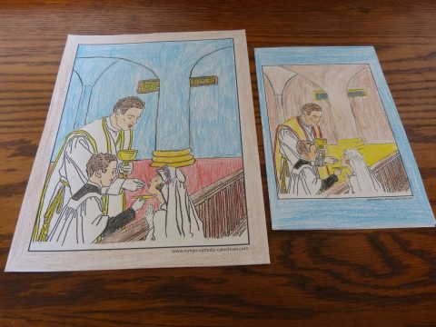Printable First Communion coloring page or printable First Communion cards