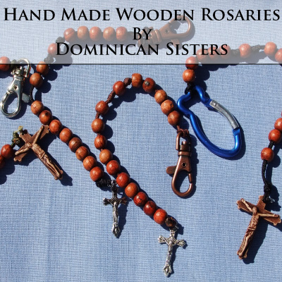 Wooden rosaries made by Dominican Sisters.