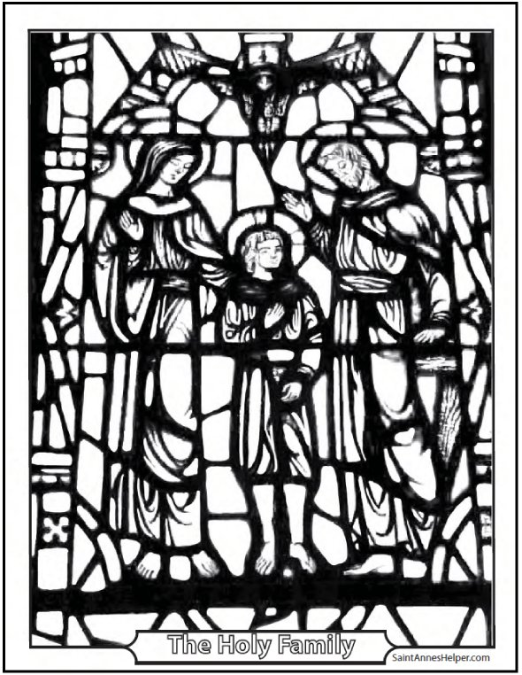 Stained Glass Holy Family Coloring Page