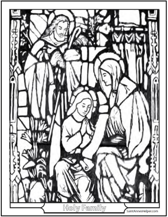 Holy Family Page for kids to color.