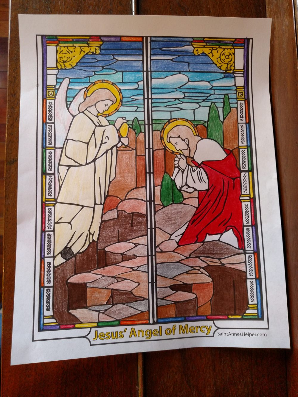 Lent Coloring Page, Rosary coloring page: Jesus' Agony in the Garden of Olives with Angel of Mercy.