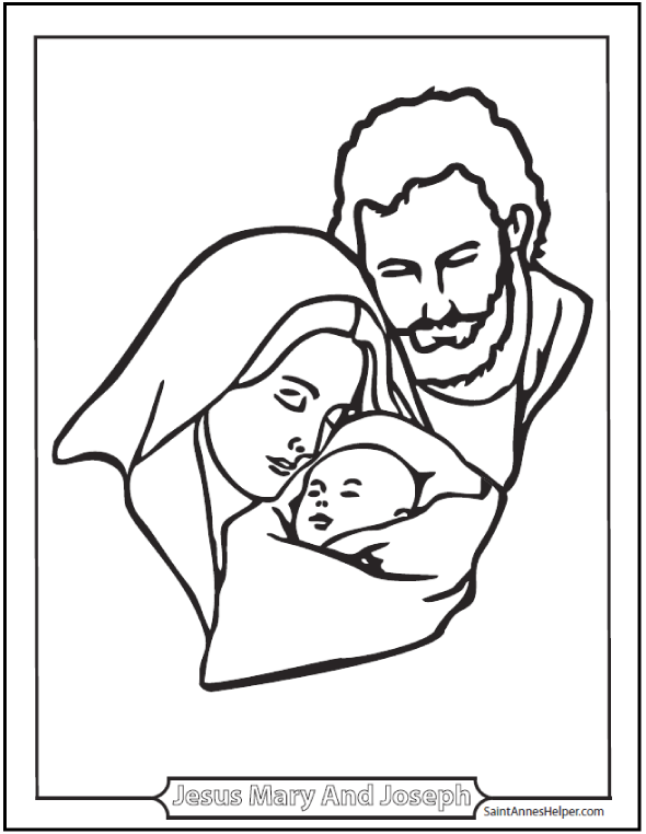 Joseph, Mary, and Jesus coloring page.