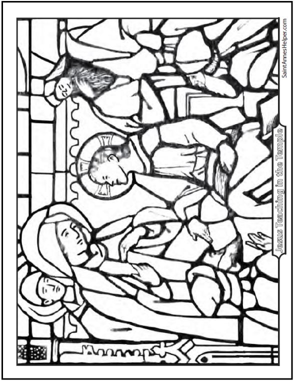 Stained Glass Coloring Page of Jesus In the Temple. Fifth Joyful Mystery Of The Rosary