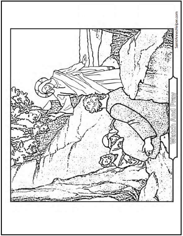 Agony In the Garden, Jesus Waking the Apostles - Lent Coloring Page