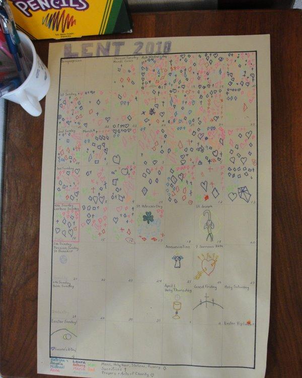 Catholic Lent Activities For Children - Make a Lent Calendar Chart to treasure-up sacrifices.