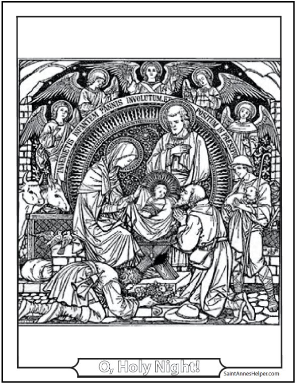 Christmas Angel Coloring Pages: Adoration of the Angels and Shepherds