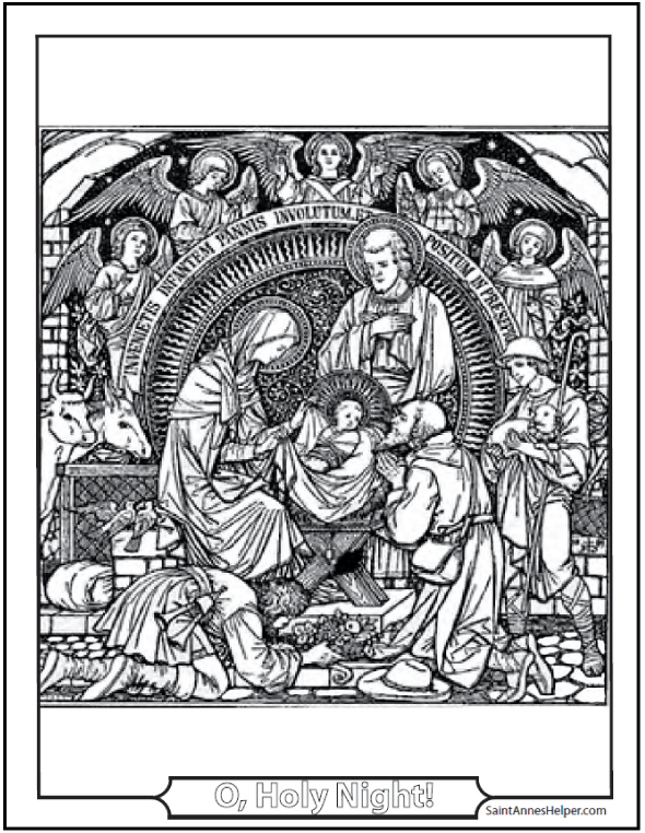 Christmas Angel Coloring Page: Nativity Scene with Angels.