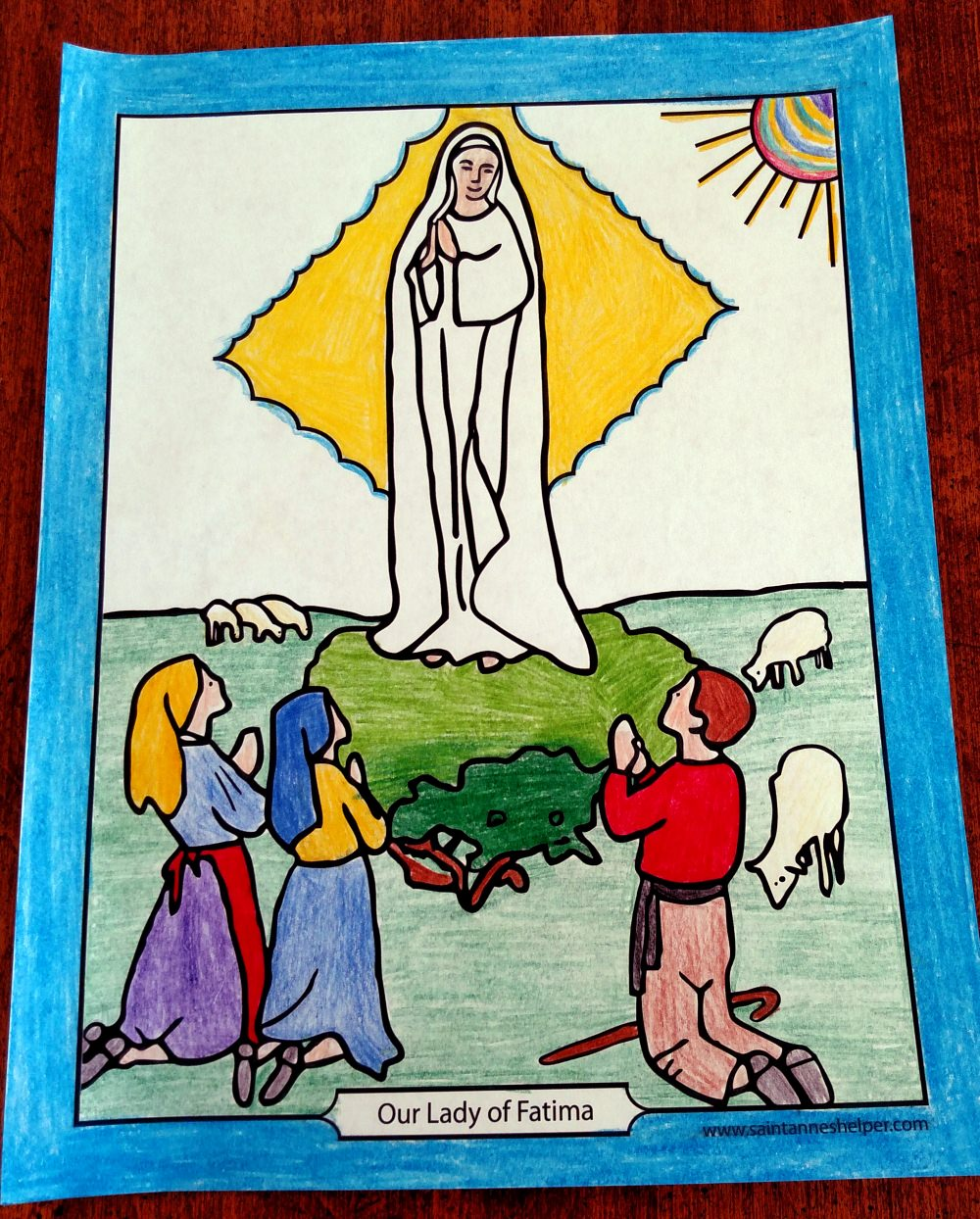Fatima Prayers and coloring page.