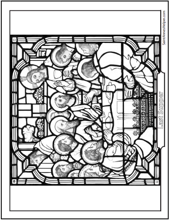Catholic Saints Coloring Page: Jesus and the Apostles at the Last Supper on Holy Thursday.