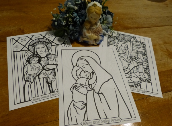 Beautiful Catholic Coloring Pages To Print! Madona and Child, Mary holding Jesus, Jesus and the Children. Buy the download to receive over one hundred #CatholicColoringPages