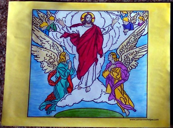 Jesus' Ascension Coloring Page: Beautiful picture of Jesus' Ascension into Heaven.