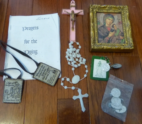 Prayers For The Dying and Emergency Kit with Rosary, Scapulars, Catholic medals, and Crucifix.