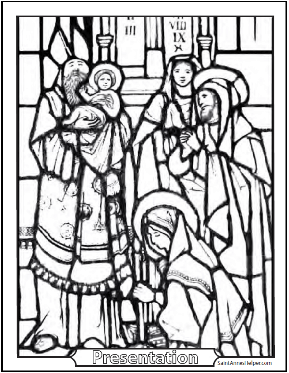 Presentation Coloring Page: Simeon and Jesus in the Temple.