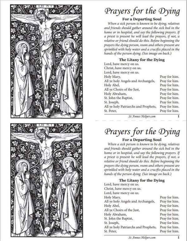 Beautiful Catholic Printable Prayers For The Dying Booklet (cut in half for two complete booklets).