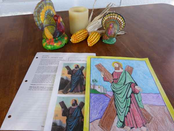 Printable Saint Andrew Prayer cards, coloring page, and worksheet for Catholic catechism classes.