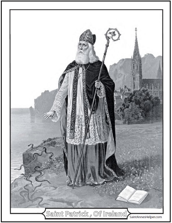 Saint Patrick's Day Coloring Page: Religious picture of St. Patrick as bishop with Catholic Church.