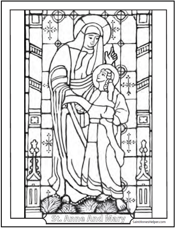 Catholic Saints Coloring Page: Stained Glass Coloring Saint Anne And Mary