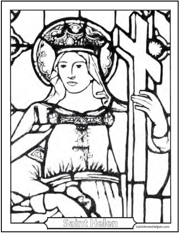 Beautiful Saint Helen coloring page! She has a crown and a Cross in a stained glass window picture.