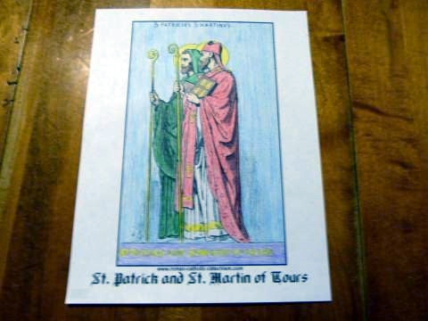 St. Patrick and St. Martin of Tours coloring page with short Irish blessings.