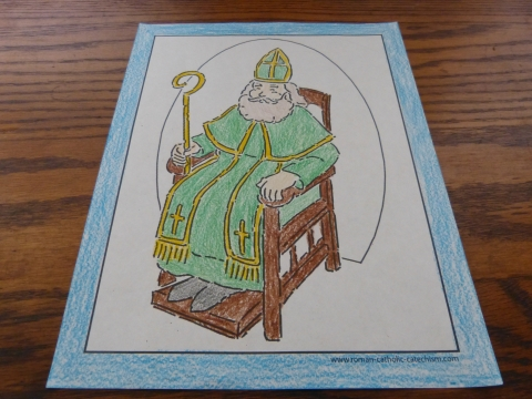 Bishop Sitting In Chair - Confirmation Coloring Page Colored