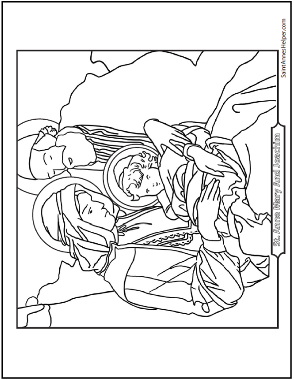Saint Anne, Mary, And Joachim - Catholic Saints Coloring Pages