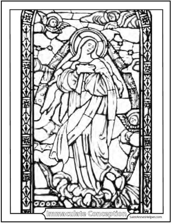 Stained Glass Coloring Page of the Immaculate Conception: Beautiful picture of Mary and angels in the sky!