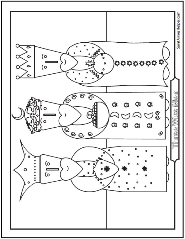 Three Kings Coloring Page: Wise Men from the Orient.